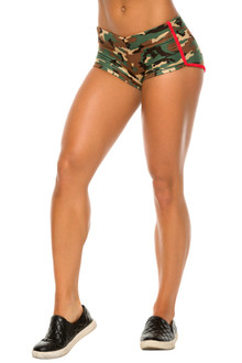 Retro Shorts - Green Camo Print w/ Supplex Piping