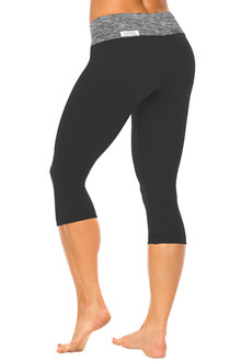Butter Sport Band on Supplex 3/4 Leggings - FINAL SALE - BUTTER BLACK ON BLACK - LARGE (1 AVAILABLE)