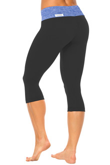 Butter Sport Band on Supplex 3/4 Leggings - FINAL SALE - BUTTER BLUE ON BLACK - XSMALL