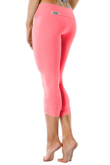 SPORT BAND SIDE GATHER 3/4 LEGGINGS - FINAL SALE - CORAL - SMALL