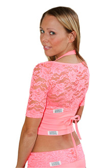 Lace Yoga Wrap - FINAL SALE - CORAL - SMALL (1 AVAILABLE)