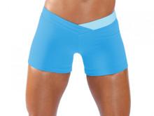 "JNL - BumbleBee Shorts - FINAL SALE - LIGHT TURQ ON BRIGHT TURQ - SMALL - 2.5"" INSEAM (1 AVAILABLE)"