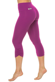 Orchid High Waist Band Side Gather 3/4 Leggings