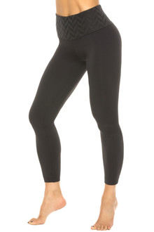 High Waist 7/8 Leggings - Chevron on Black Supplex - Final Sale - M & L