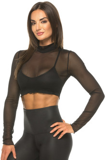 Valerie Mesh Mock Turtleneck Crop Top