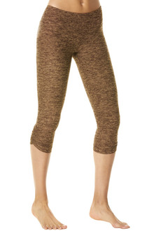 Butter Khaki Sport Band Side Gather 3/4 Leggings