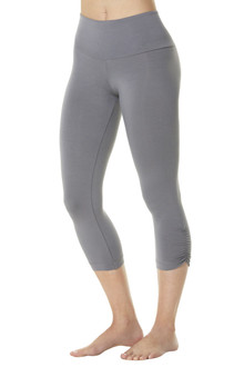 Rayon High Waist Side Gather 3/4 Leggings