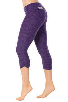 Butter Purple Sport Band Side Gather 3/4 Leggings - FINAL SALE - XS (1 AVAILABLE)
