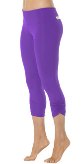 Sport Band Side Gather 3/4 Leggings - IRIS -FINAL SALE