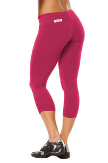 Sport Band Side Gather 3/4 Leggings-BERRY- FINAL SALE- M