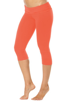 Rolldown 3/4 Leggings - TANGERINE on TANGERINE - FINAL SALE - SMALL (1 AVAILABLE)