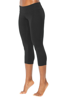 Bamboo Sport Band 3/4 Leggings -Black -  Final Sale- MEDIUM (1 AVAILABLE)