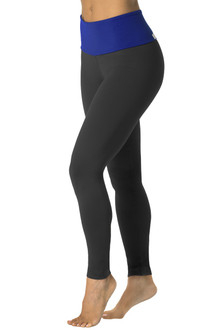 High Waist 7/8 Leggings - Royal on Black Supplex - FINAL SALE- XS (3 AVAILABLE)