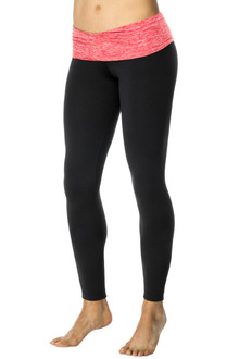 Rolldown 7/8 Leggings- Butter Red on Black Supplex - FINAL SALE - XS & S