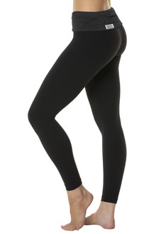 Rolldown 7/8 Leggings - Butter Dark Black on Black Supplex - FINAL SALE - XS, S & M