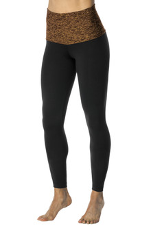 Rolldown 7/8 Leggings - Butter Khaki  on Black Supplex - FINAL SALE - M & L