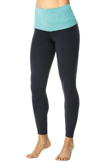 Rolldown 7/8 Leggings - Butter Mint on Black Supplex - FINAL SALE - XS & S