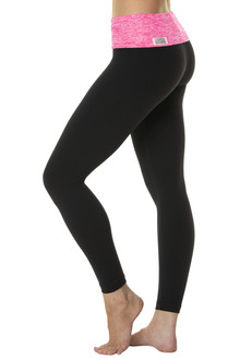 Rolldown  7/8 Leggings - Butter Fuchsia on Black Supplex - FINAL SALE  - XS, S & M