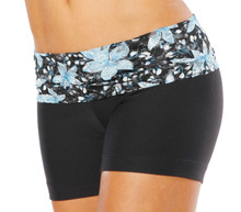 "Lace Rolldown Shorts-  BLUE FAIRY LACE ON BLACK -FINAL SALE- SMALL - 4"" INSEAM (1 AVAILABLE)"