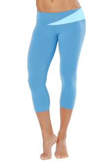 Florence Band 3/4 Leggings, side gather - RIVIERA ON LIGHT BLUE ON RIVIERA ON FINAL SALE - LARGE (1 AVAILABLE)