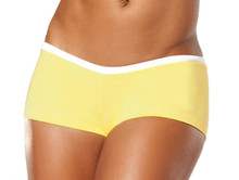 "Alicia Marie - Cover Girl Shorts - FINAL SALE - WHITE ON YELLOW - SMALL - 2.5"" INSEAM - SIDES (1 AVAILABLE)"