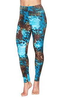 "High Waist Print Leggings- TIGER TURQ- FINAL SALE- SMALL - 29.5"" INSEAM (1 AVAILABLE)"