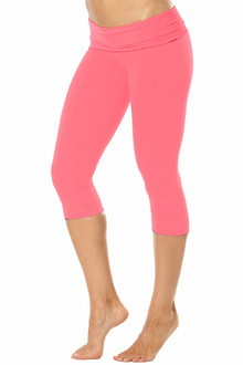 Rolldown 3/4 Leggings - CORAL ON CORAL - FINAL SALE - SMALL (1 AVAILABLE)