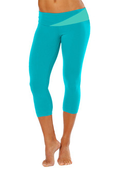 Florence Band 3/4 Leggings, side gather - TEAL ON ICE ON TEAL-FINAL SALE - MEDIUM (1 AVAILABLE)