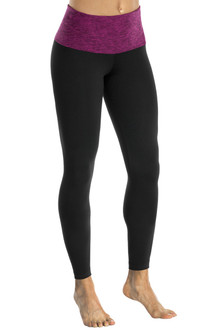 High Waist 7/8 Leggings - Butter Plum Accent on Black Supplex - FINAL SALE - S, M, & L