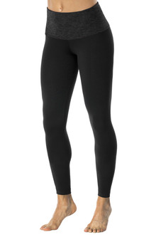 High Waist 7/8 Leggings - Butter Dark Black Accent on Black Supplex - FINAL SALE - S, M, & L