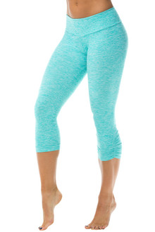 Sport Band Side Gather 3/4 Leggings - Butter Mint - FINAL SALE - XSMALL (1 AVAILABLE)