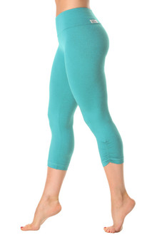 Butter Light Jade High Waist Side Gather 3/4 Leggings