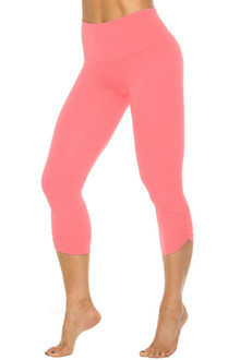 High Waist Side Gather 3/4 Leggings - Coral