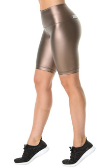 High Waist Cobra Shorts- Metallic Copper