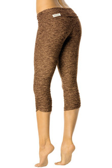 Rolldown Side Gather 3/4 Leggings - FINAL SALE - BUTTER KHAKI - SMALL (1 AVAILABLE)