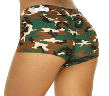 Scrunch Back Lowrise Mini Shorts - Camouflage