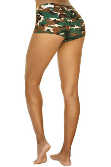 Camouflage Scrunch Back Lowrise Mini Shorts