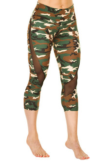 HIGH WAIST CLARA 3/4 LEGGINGS - Mesh Accent on Camouflage