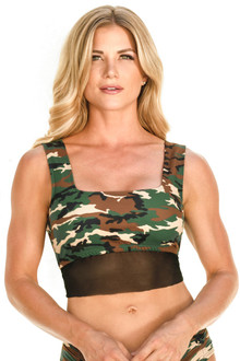 Grace Crop Top - Mesh Accent on Camo