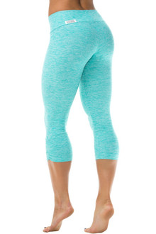 Sport Band Side Gather 3/4 Leggings - Butter Mint- FINAL SALE - MEDIUM (1 AVAILABLE)