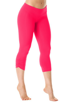 Exclusive Price - Sport Band Side Gather 3/4 Leggings - FINAL SALE - BEGONIA