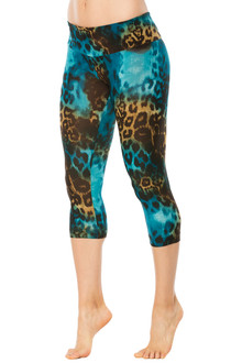 Tiger Turquoise Sport Band 3/4 Leggings - FINAL SALE - XS, S, M, & L