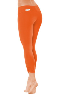 Sport Band Side Gather 3/4 Leggings -TANGERINE- FINAL SALE