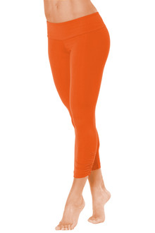 Sport Band Side Gather 3/4 Leggings -TANGERINE-SALE