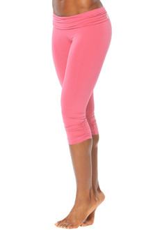 Rolldown Side Gather 3/4 Leggings - CORAL - FINAL SALE - SMALL (1 AVAILABLE)