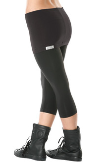Transformable Skirt 3/4 Leggings - BLACK ON BLACK - FINAL SALE - XS