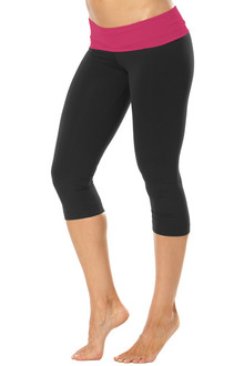 Rolldown 3/4 Leggings - BERRY ON BLACK - SALE - XSMALL (2 AVAILABLE)