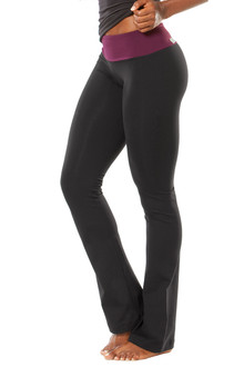 Sport Band Pants - bootleg - SALE - EGGPLANT ON BLACK - S