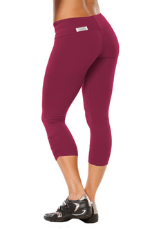 Sport Band Side Gather 3/4 Leggings - BURGUNDY - FINAL SALE