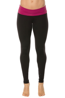 Rolldown Leggings - BERRY ON BLACK - FINAL SALE - SMALL(1 AVAILABLE)